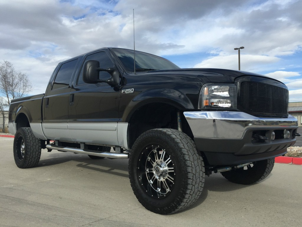 Low Mileage Diesel Trucks >> Lifted 2002 FORD F250 CREW CAB Shortbed 4X4 7.3 Powerstroke Turbo Diesel for sale