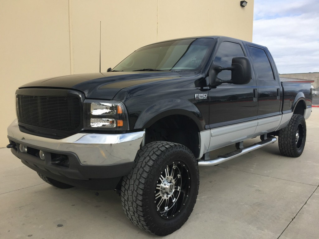 lifted 2002 ford f250 crew cab shortbed 4x4 7 3 powerstroke turbo diesel for sale. Black Bedroom Furniture Sets. Home Design Ideas